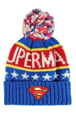 Dc Comics Superman Kids Knitted Bobble Beanie Hat