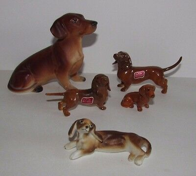 Lot Vtg Bone China Dachshund Dogs Figurines Japan Helvin Weiner