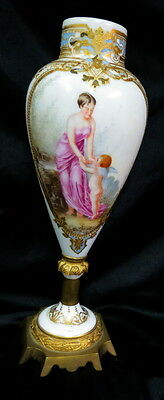 unmarked Sevres hand painted Urn / Lady & baby Angel  ormalu base marked second