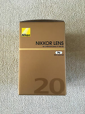Nikon Nikkor AF-S 20mm f/1.8G ED Empty Lens Box with packaging and pouch only..