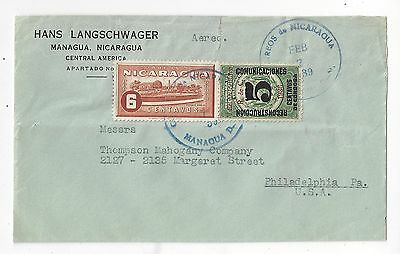 Nicaragua 1939 Airmail Cover to US, Revenue Surcharge