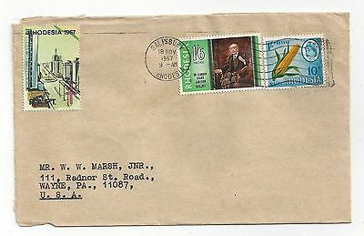 Rhodesia 1967 Cover to US, Nice Stamps with Dual Currency, RAPT Seal