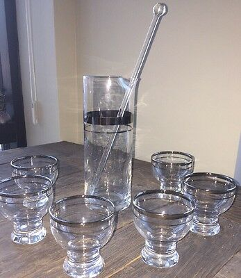 8 Piece Vintage Mid Century Modern Cocktail Martini Set Silver Banded Etched