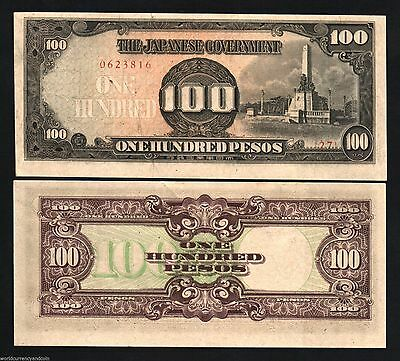 WW2 Japan Occupied Philippines 1943-100 Peso Bank Note-2nd Issue- AU+ Con-16-243