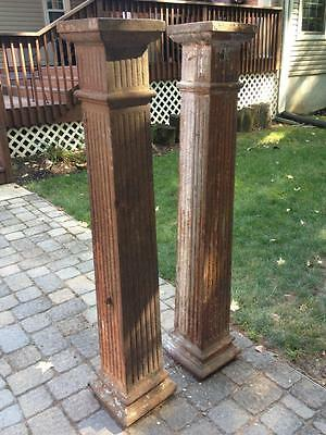 "2 Antique 63"" Cast Iron Square Fluted Industrial Architectural Columns Philadelp"