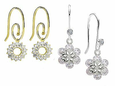 Pandora SS Hoops and 14K Gold Scroll Earrings with European Pendants 2 Pair