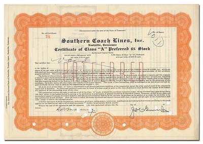 Southern Coach Lines, Inc. Stock Certificate (Nashville, Tennessee)