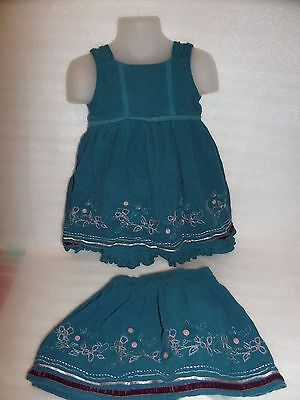 1 1/12 Years Mini Mode Blue Dress And Skirt Girls Outfit Floral Bottom