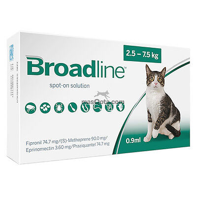BROADLINE-SPOT-ON - ANTIPARÁSITOS GATOS/CATS (2.5 - 7.5 KG) - 3 PIPETAS x 0.9 ml