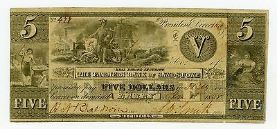 1838 $5 The Farmers Bank of Sandstone - Barry, MICHIGAN Note