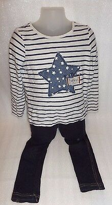 Beautiful Girls 4-5 Years Blue Outfit Stars Stripes Denim Leggins Next