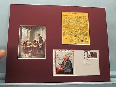 Jefferson writes Declaration of  Independence & Ben Franklin First day Cover
