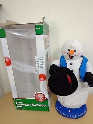 "REPAIR vtg 18"" Snowman Spinning Snowflake Musical Sing Original Box Animated"