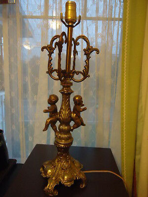 Vintage Brass Table Lamp Cherub mid century  24 inches