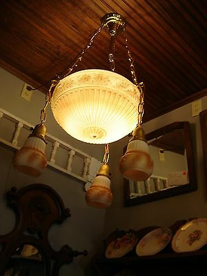 Antique Milk Glass Center Dome Light Fixture with 3 Matching Shades 9359