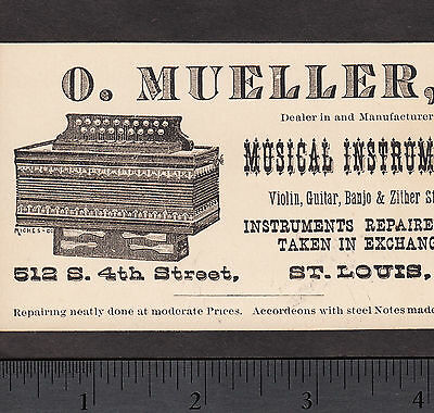 St Louis Accordion Maker Otto Mueller RARE 19th Century Music Advertising Card