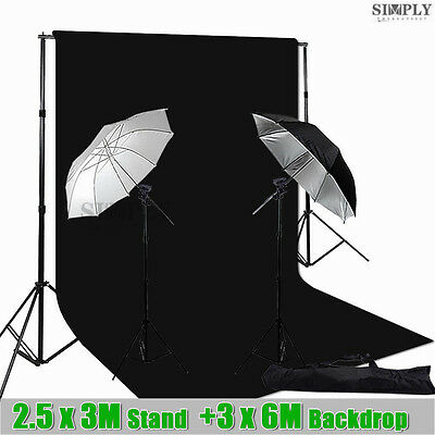 Photography Studio Lighting Umbrella Flash Speedlite Light Stand Backdrop Kit AU
