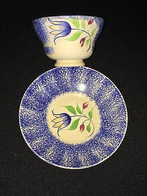 19C Blue Spatterware Drooping Yellow Tulip Cup & Saucer - Rare