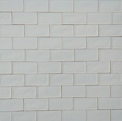 Wall Tiles - Rustic Style Handmade-Look Satin White Subway Tiles 150x75mm