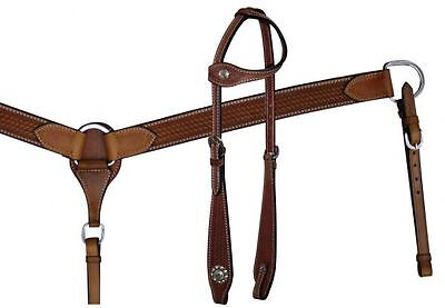 Double Stitched Leather One Ear Headstall and Breast Collar Set NEW