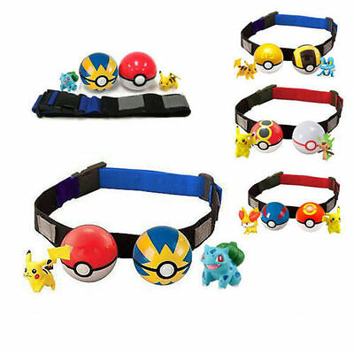 Kids Adjustable Poke Ball Belt Pokemon Clip n Carry Xmas Gift Pretend Play Game