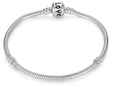 NEW Sterling Silver 925 Plated European Charm Bead Snake Bracelet Barell Clasp