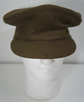 WW2 Vintage Australian Military Officers Peaked Hat Green CGCF Melbourne 6 7/8