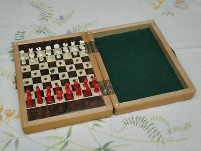 Vintage Travel Chess Wooden Board In Wooden Case Bakelite Playing Pieces 1950s