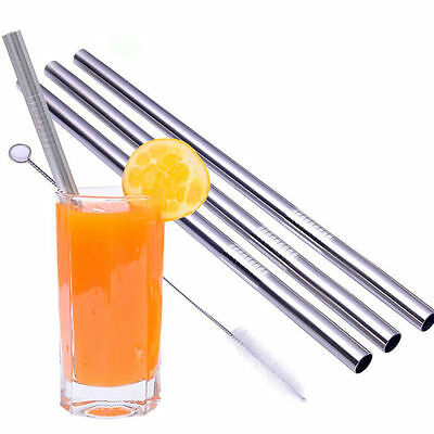 4PCS Reusable Metal Stainless Steel Cocktail Drinking Straws 2 Cleaner Brush Set