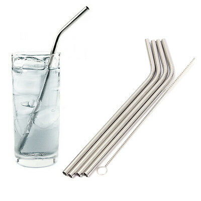 4pc Reusable Metal Stainless Steel Cocktail Drinking Straws or Cleaner Brush Set