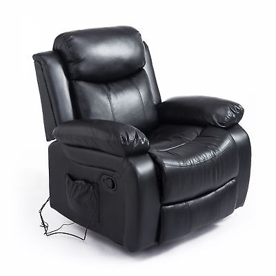 Deluxe Electronic Heated Massage Sofa Recliner Chair Faux Leather Lounge Black
