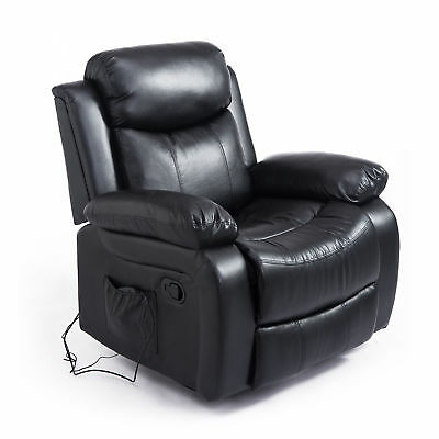 Heated Electric Massage Recliner Sofa Lounge Faux Leather w/ 8 Vibration Motors