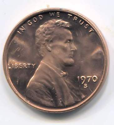 U.S. 1970 S Lincoln Memorial Penny - American One Cent Coin San Francisco Mint