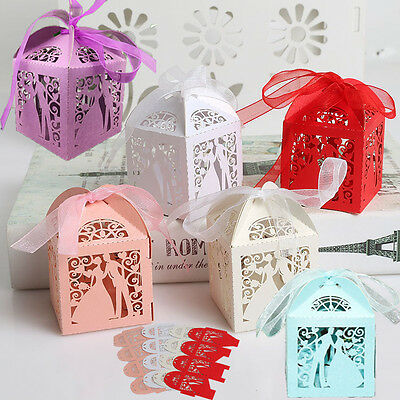 10/50/100pcs Bride Groom Laser Cut Candy Gift Boxes Ribbon Wedding Party Favor