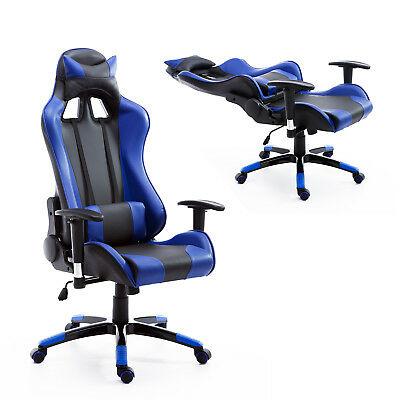Black Blue Office Computer Chair Waist Neck Cushion Adjustable Seat Modern Relax
