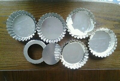 6 Fluted Tart Cases ~Spring Form ~UNUSED 15 YEARS OLD ~ Brioche Tins ~100%RATING