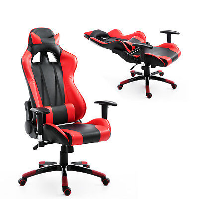 Gaming Racing Chair High-back Ergonomic Computer Office PU Seat Swivel w/ Pillow