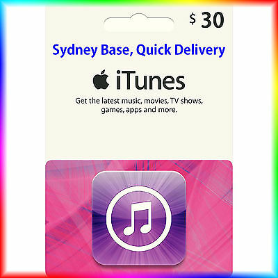 $30 Australian iTunes Gift Card for Music,Movies,Books,Apps,Fast delivery