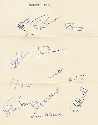 Worcestershire County Cricket Club 1958 Autograph Sheet Cricket Signed Sheet