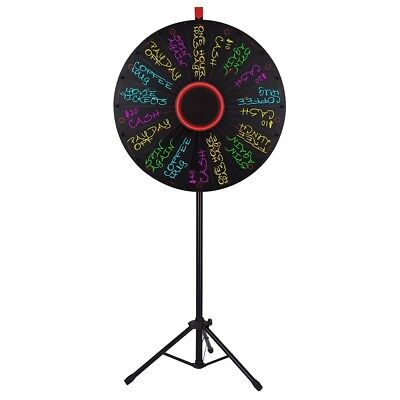"WinSpin™ 30"" LED Light Prize Wheel 18 Slot Floor Stand Tripod Tradeshow Carnival"