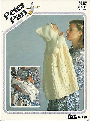 Original Vintage Knitting Pattern Baby Hooded Carrying Capes - 2 Cape Designs