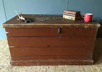 Large Painted Inscribed Antique Victorian Pine Chest Blanket Box Travel Trunk