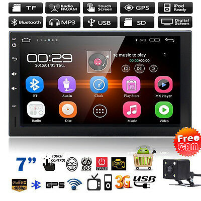Double 2DIN Car GPS Android Wifi MP3 Player Stereo Bluetooth FM USB TV + Camera