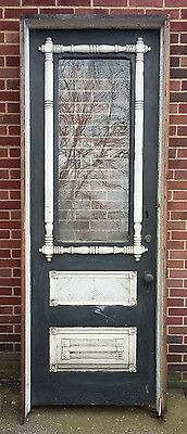 "Ornate Original  Antique Victorian Exterior Door, Jamb & Hardware, 32"" x 90.5"""