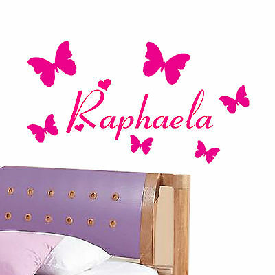 PERSONALISED GIRLS WALL NAME STICKER Kids Art Childrens Butterfly butterflies