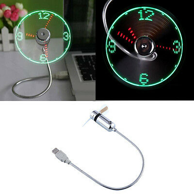 Mini Flexible Ventilateur Lumière LED Clock USB Horloge Fan Pr PC Notebook Lapto