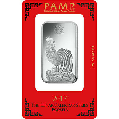1oz (Troy) PAMP Suisse 'Rooster' Silver Bar 999.0 Fine Silver, for 2017