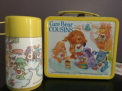Vtg 1985 Care Bears Cousins Yellow Metal Aladdin Lunch Box & Thermos Excellent