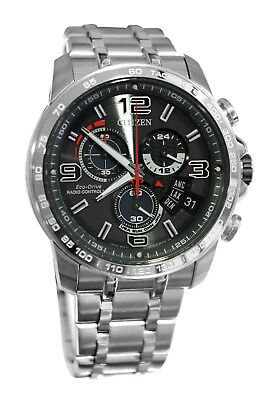 Citizen BY0100-51H Eco Drive Grey Day Date Dial Chronograph Silver Men Watch
