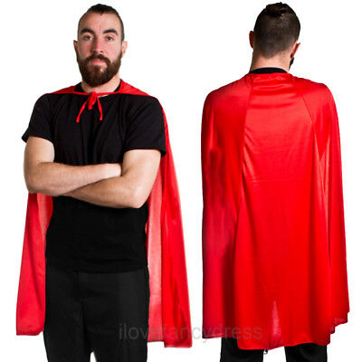 "Red Superhero Cape 40"" Halloween Fancy Dress Costume Comic Book Hero Villain"